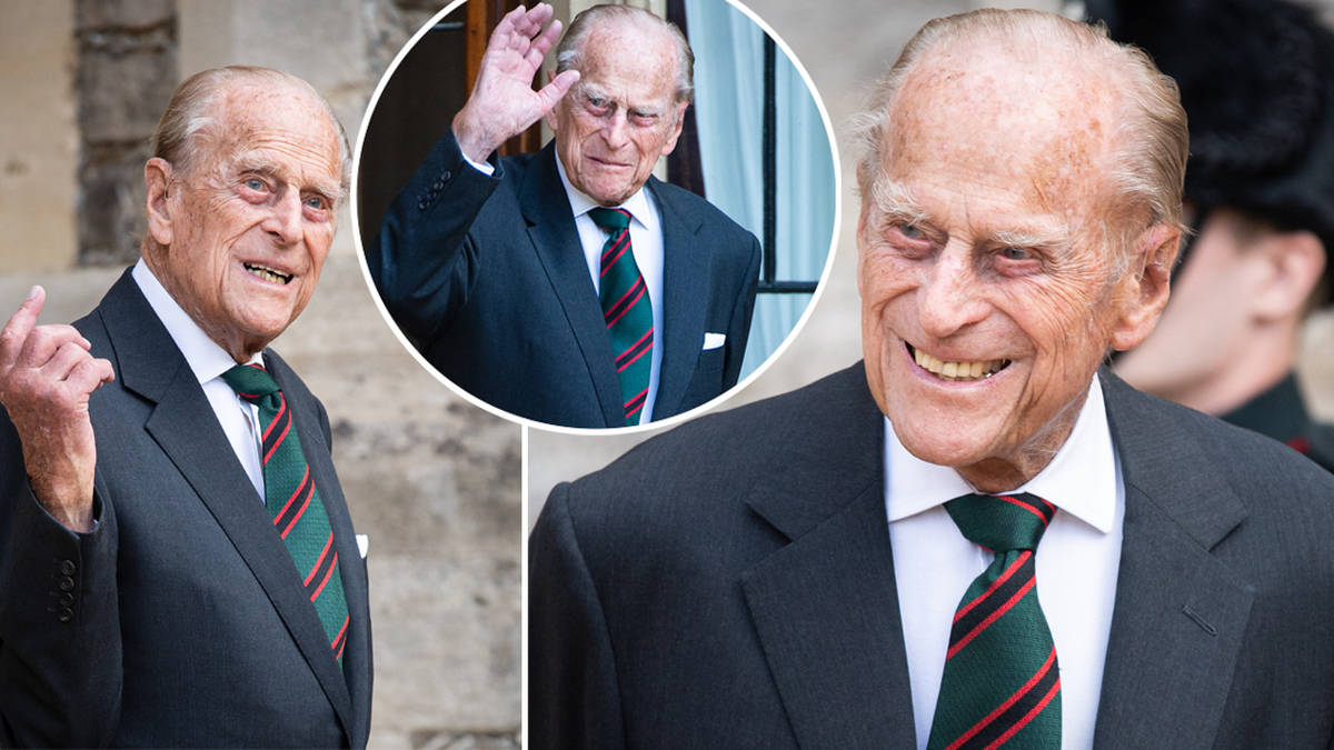 Prince Phillip, 99, smiles for the cameras as he steps out ...