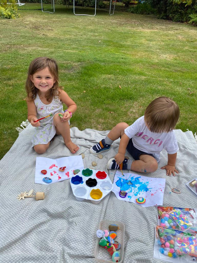 Luna and Kit loved getting creative together in the garden