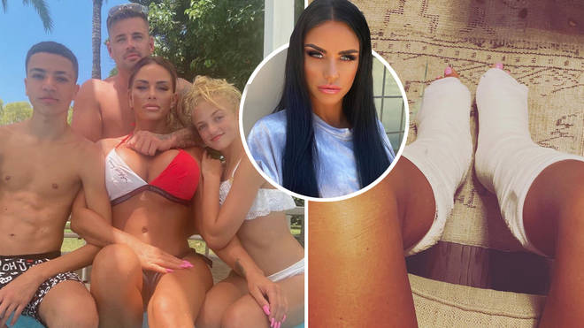 Katie Price has ended up with casts on both her feet following a holiday accident