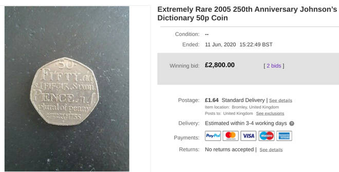 The listing showed how much it was sold for