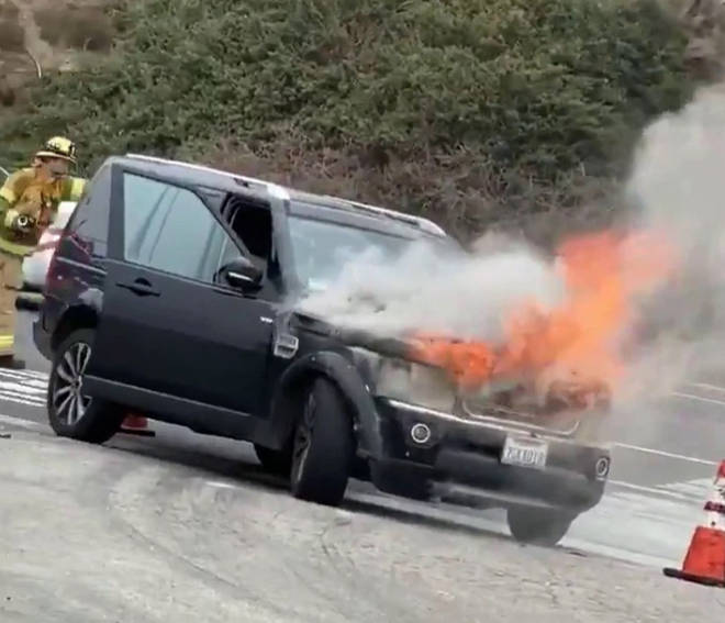 Richard Bacon's car burst into flames on the road
