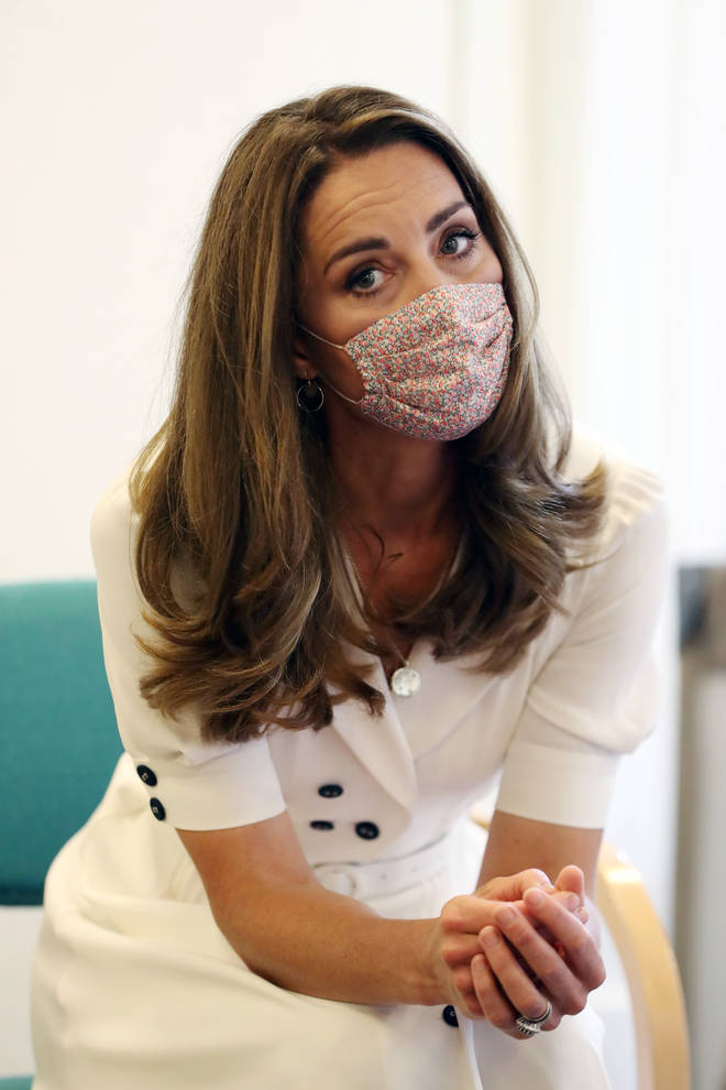 Kate Middleton, 38, stepped out for her first royal engagement in months this week wearing a floral face covering