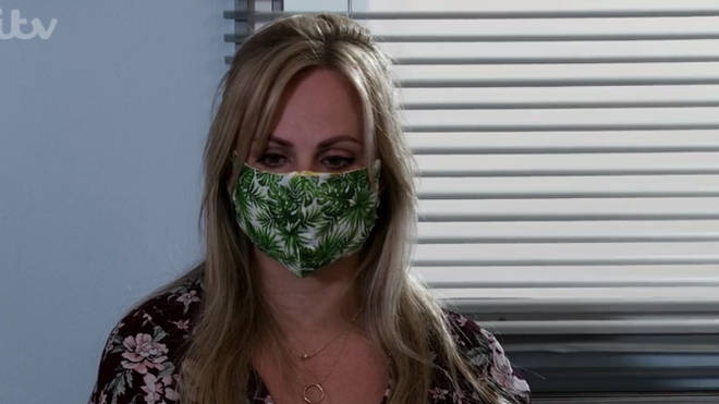 Sarah Platt wore her mask when she arrived at the hospital