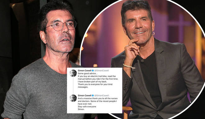 Simon Cowell has updated fans from his hospital bed after breaking his back