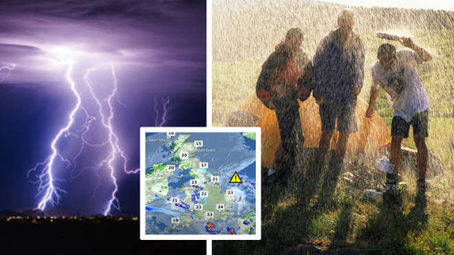 The UK has been braced for five days of heavy rain and thunderstorms