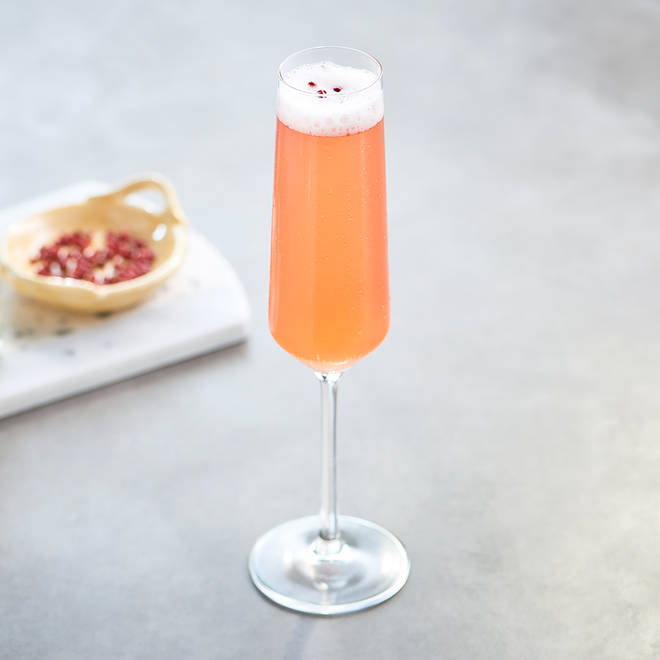 This fruity cocktail is topped with peppercorns