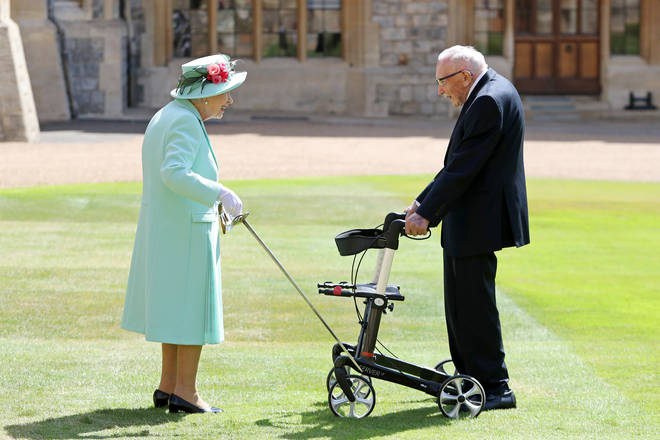 Sir Tom Moore was knighted by the Queen