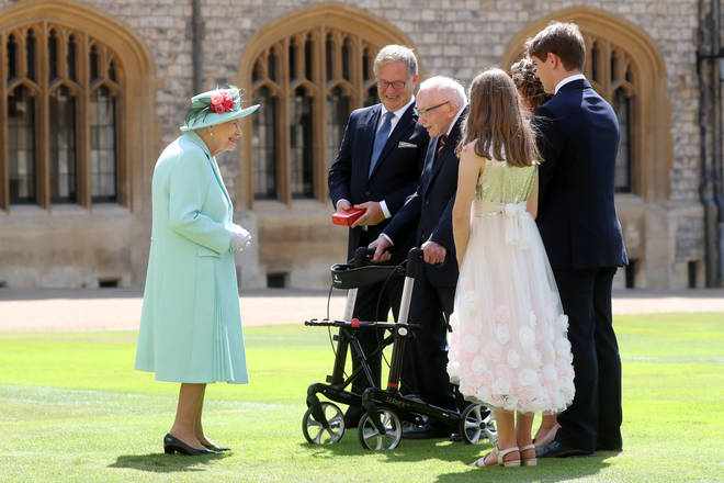 Tom Moore was knighted by the Queen