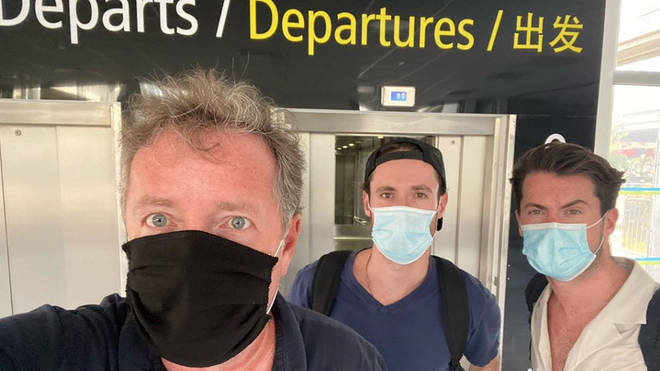 Piers and his sons flew back before the 4am cut-off point on Saturday