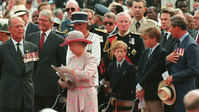 VJ Day commemorated by the Prince and Princess of Wales and children William and Harry in 1995