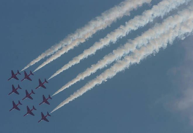 The Red Arrows will fly across the UK on Saturday