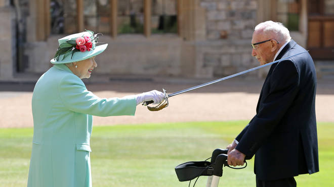 Captain Tom was knighted by the Queen in July