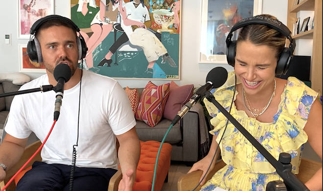 Spencer and Vogue recording their podcast at home