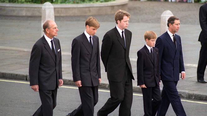 Prince Philip joins grandson's at Diana's funeral