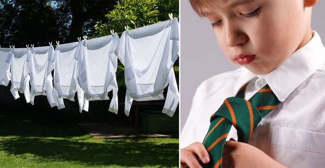 Kids in bright white shirts are said to perform better at school, according to the study (stock images)