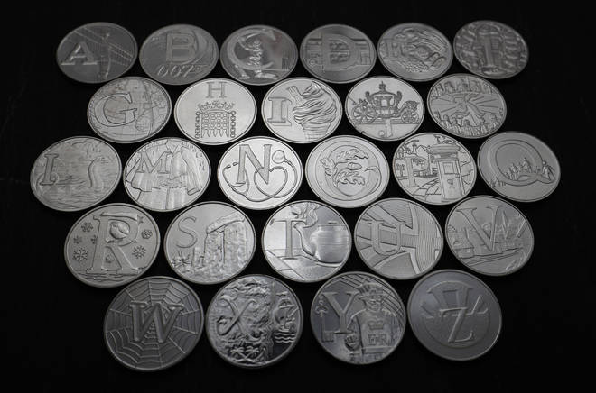 The alphabet 10p coins