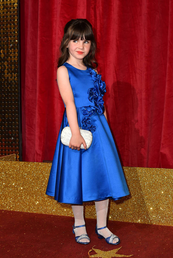 Amelia Flanagan works the red carpet at the British Soap Awards