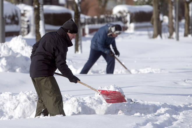 Residents of Glasgow were shovelling mounds of snow in March this year