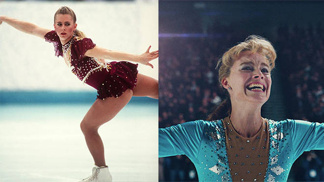 Left: Tonya Harding at the Winter Olympics and Margot Robbie as Tonya Harding in I, Tonya