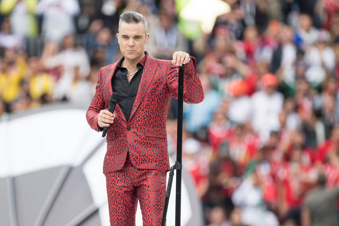 Robbie Williams performing at the FIFA World Cup ceremony