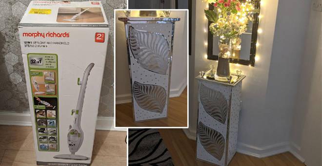 The woman created an incredible hallway table using an old cardboard box