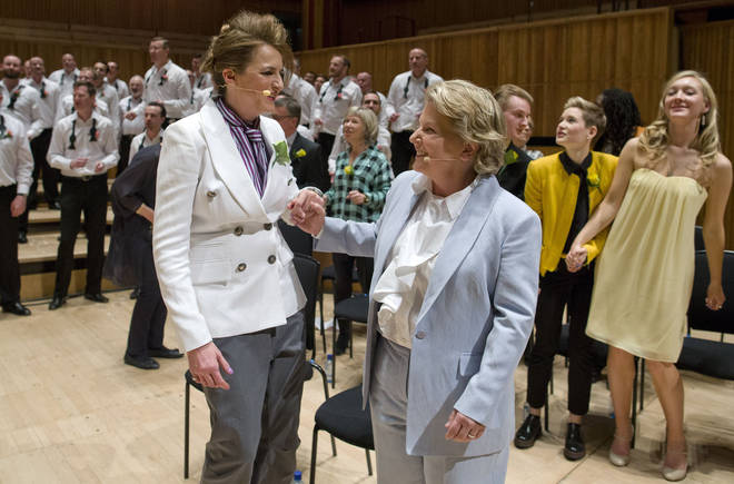 Sandi and Debbie Toksvig renew their vows at the Southbank Centre
