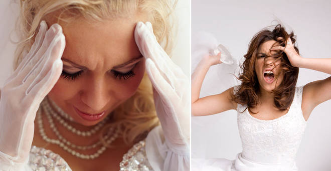 The bride has been criticised on Twitter for her reaction (stock images)