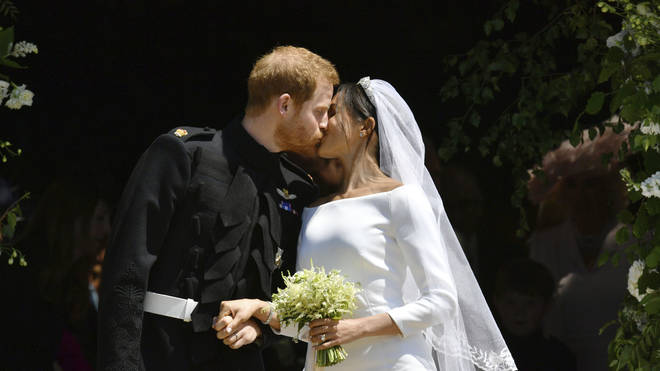Meghan Markle and Prince Harry, now the Duke and Duchess of Sussex, on their wedding day
