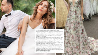 The bride does not want the guest to wear this long, floral gown to her wedding