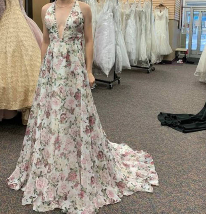 """The bride-to-be said the train on the dress """"throws it over the edge"""""""