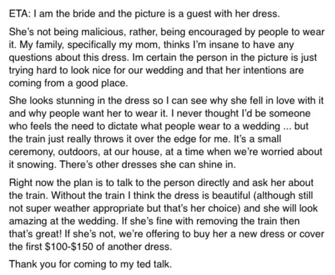 The bride explained how she plans to offer to buy the guest a new dress