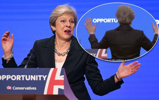 Theresa May dancing at Tory Conference