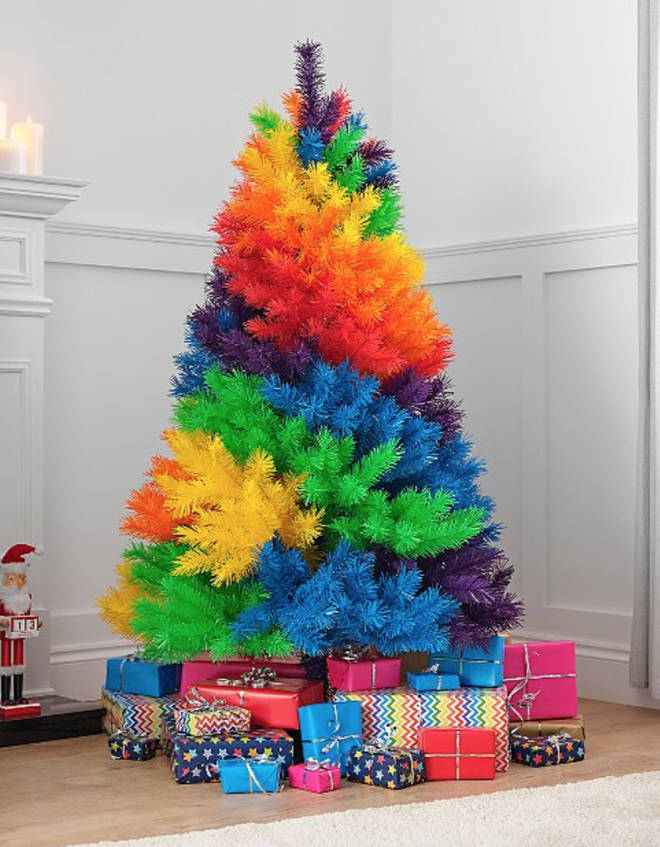 The rainbow Christmas Tree is from Asda and will set you back £50
