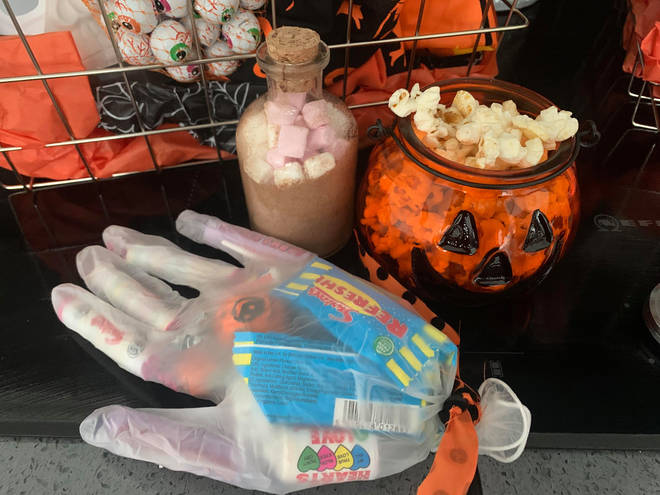 Hayley filled plastic gloves with sweets