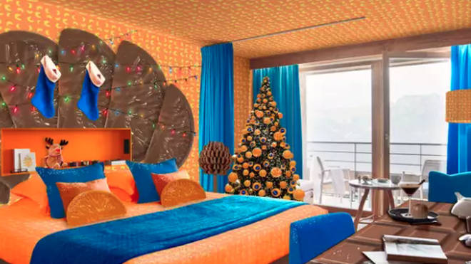 This chocolate orange themed room is in France