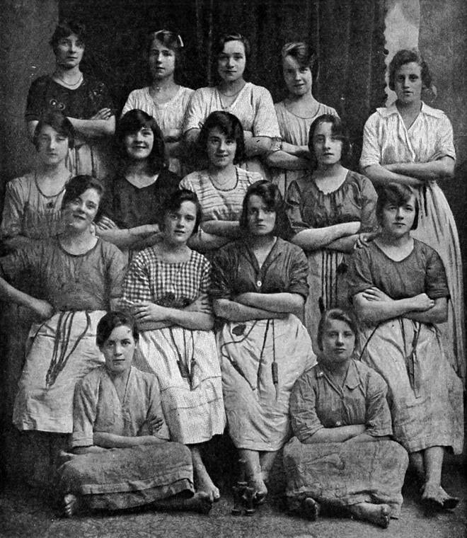 The picture was taken in 1900 at a linen mill in Northern Ireland