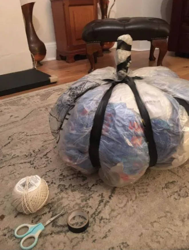 The pumpkin was made out of old bills and wrapping paper