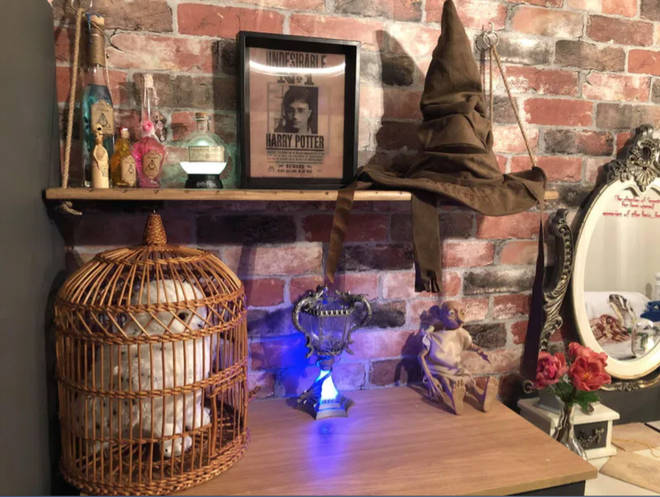 The room includes an amazing collection of Harry Potter memorabilia