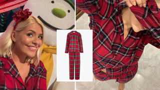 Holly Willoughby looked ready for Christmas in her tartan pjs