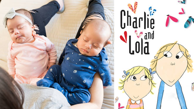 The mum has been getting odd reactions when she tells people her twins are called Charlie and Lola