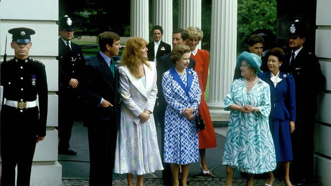 Sarah Ferguson stands next to the Queen in this vintage photo taken before she divorced her son
