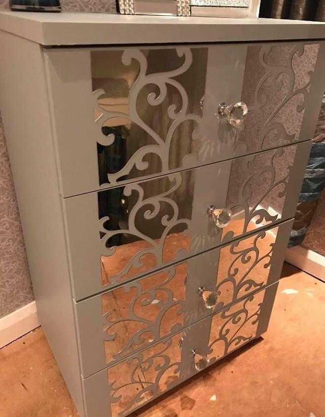 She created the cabinet using bargains she found on Amazon and Home Bargains