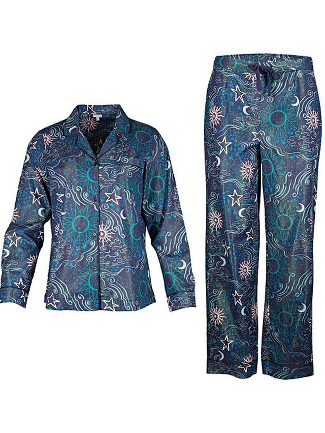 Milky Way Sparkle Print Navy Blue Pyjama Set from Oliver Bonas