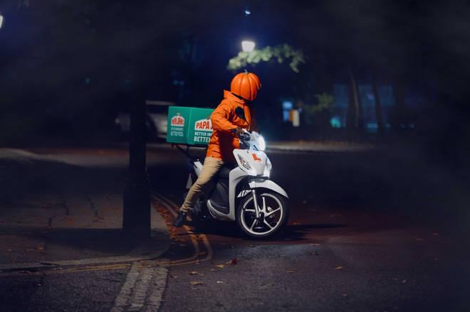 Keep an eye out for Papa John's pumpkin head drivers
