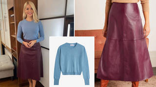 Holly Willoughby is wearing a leather skirt on This Morning