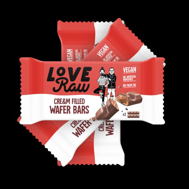 LoveRaw hazelnut cream filled wafer bar