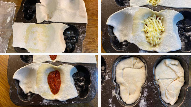 It's easy to make the pizza skulls - bake and enjoy!