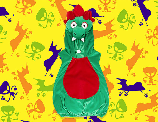 This Dinosaur costume is more cuddly than fearsome!