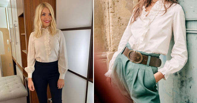 Holly Willoughby's shirt and trousers are from Sezare