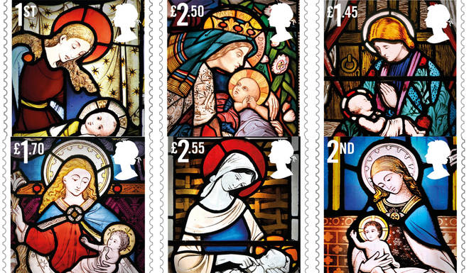 The 2020 Royal Mail Christmas stamps show stained-glass images of the nativity scene